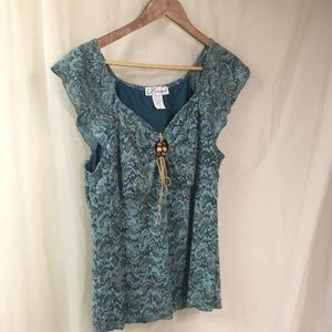 Teal and brown crochet top from Dress Barn